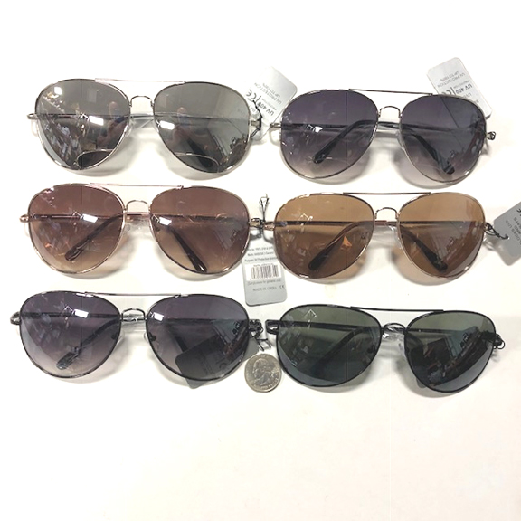 AVIATOR  XL  ASSORTED DARK LKENSES & FRAME COLORS SPRING TEMPLES