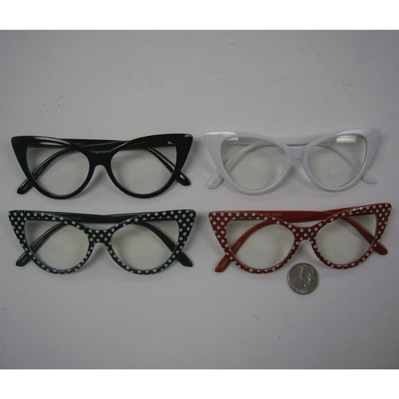 CLEAR LENS CAT STYLE FRAMES IN SOLID & POLKADOTS FRAMES