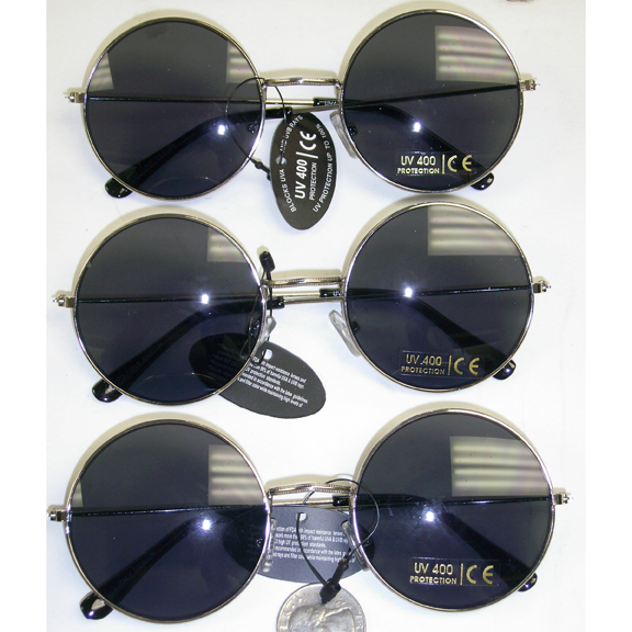 LARGE JOHN LENNON STYLE SUNGLASSES, SILVER COLOR DARK GRAY LENS