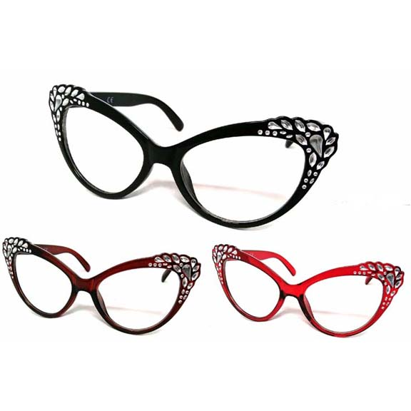 CLEAR LENS LARGE CAT SHAPE GLASSES WITH GEM LOOK CORNERS