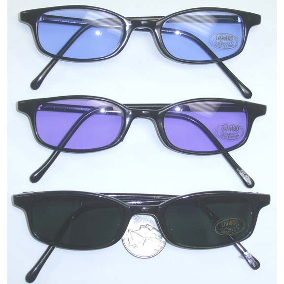 SMALL BLACK FRAMES WITH BLUE, PURPLE & DARK LENS SUNGLASSES