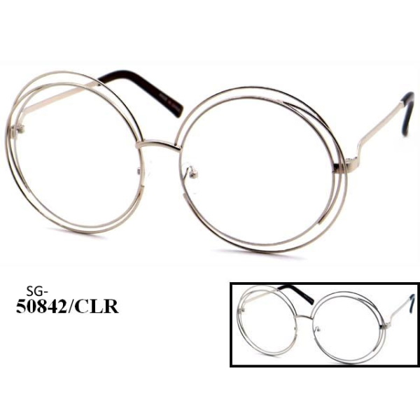 CLEAR LENS, JANIS SIZE ROUND LENSES WITH OUTER RIM BANDS