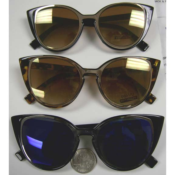 CAT SHAPE SUNGLASSES, ASSORTED LENSES