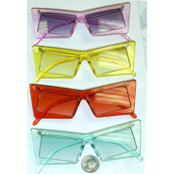 ANGULAR SHAPE FRAMES, RECTANGULAR LENSES COLORFUL FUNKY SUNGLASS