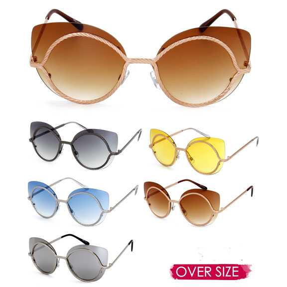 CAT SHAPE OVERSIZE LENS METAL FRAMES ASSORTED LENS