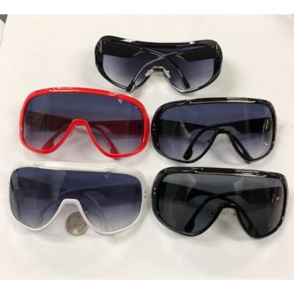 LARGE SHIELD STYLE SUNGLASSES, ASSORTED COLORS,