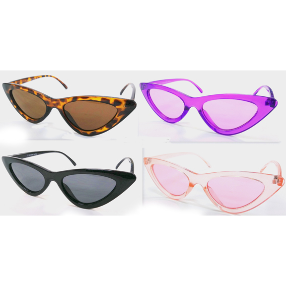 SMALL CAT SHAPE RETRO LOOKING SUNGLASSES, ASSORTED