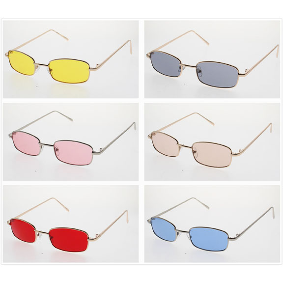 LENNON RECTANGLE SHAPE COLOR LENS SUNGLASSES, VERY POPULAR NOW