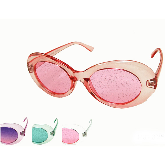 OVAL SHAPE GLITTER LENS ASSORTED COLORS SUNGLASSES