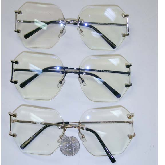 CLEAR FRAMELESS GLASSES WITH METAL ARMS