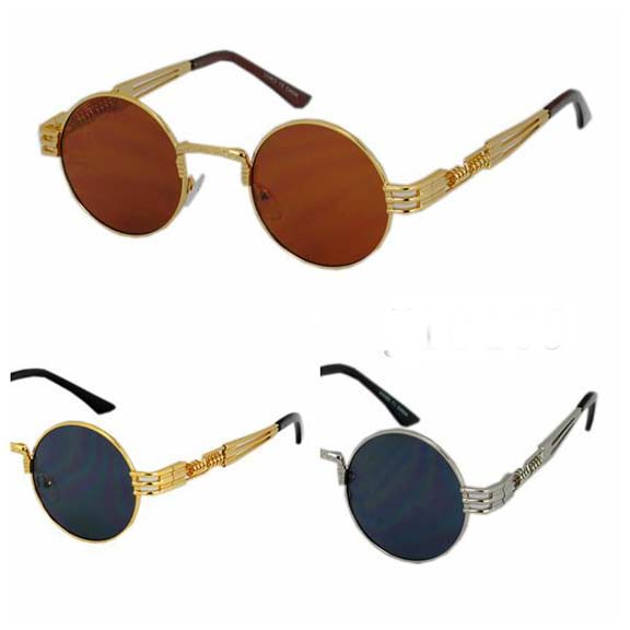 ROUND DARK LENS LENNON SIZE, FUNKY METAL ARMS SUNGLASSES