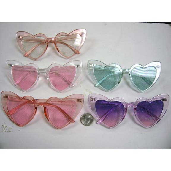 HEART SHAPE FRAMES,  GLITTER LENS, COLORFUL SUNGLASSES