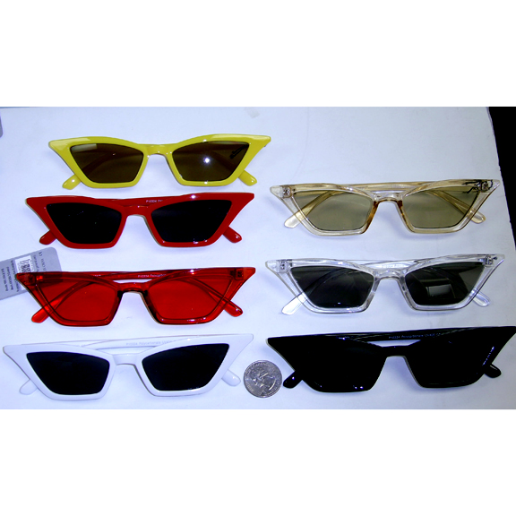 THIN CAT LIKE SUNGLASSES ASSORTED COLORS