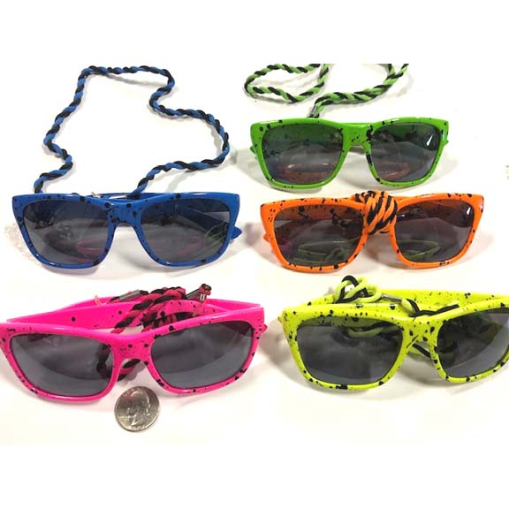 80&#39S FASHION, NEON COLOR SPLATTER SUNGLASSES WITH CORD