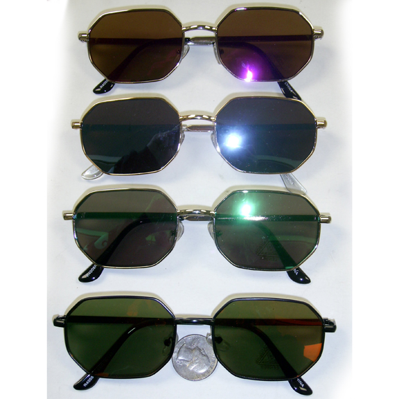 8 SIDED LENNON LOOKING SUNGLASSES WITH REVO LENSES