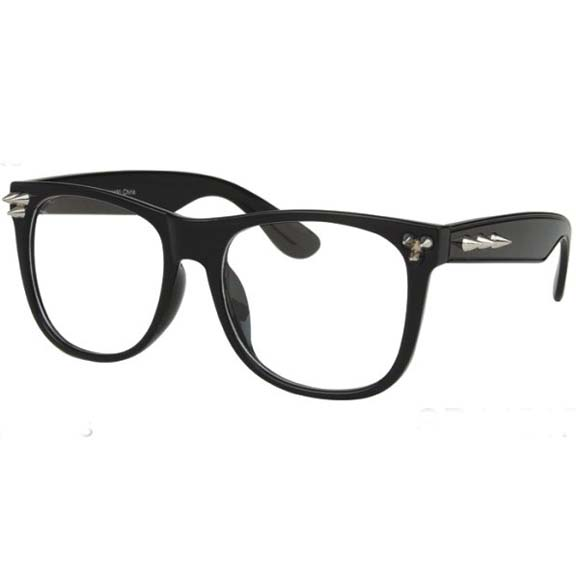 CLEAR LENS GLASSES WITH SPIKES IN FRAMES