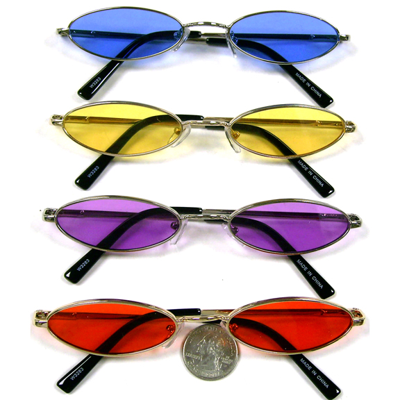 SMALL OVAL LENNON STYLE SUNGLASSES COLOR LENSES, SPRING TEMPLE