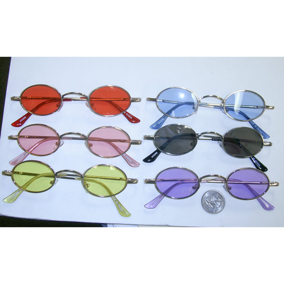 SMALL OVAL COLOR LENS, METAL SPRING TEMPLE QUALITY SUNGLASSES