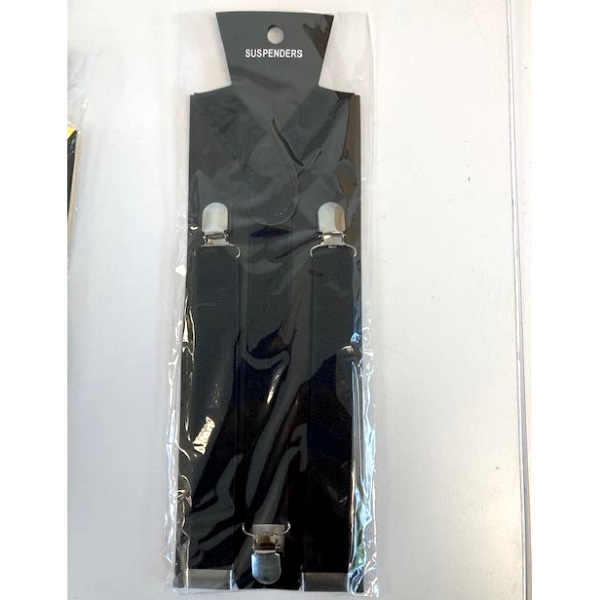 BLACK SUSPENDERS, 1 INCH WIDE
